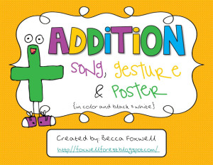 Addition Song, Gesture, and Posters FREEBIE!