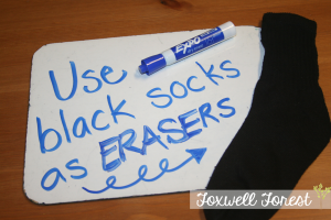 Using Black Sock as Erasers