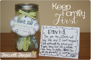 Keep Family First & a Date Jar Freebie!